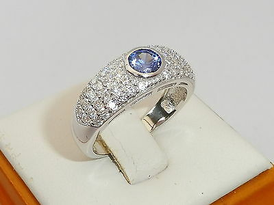 Ladies Hallmarked Sterling 925 Silver White Sapphire and Tanzanite Cluster Ring