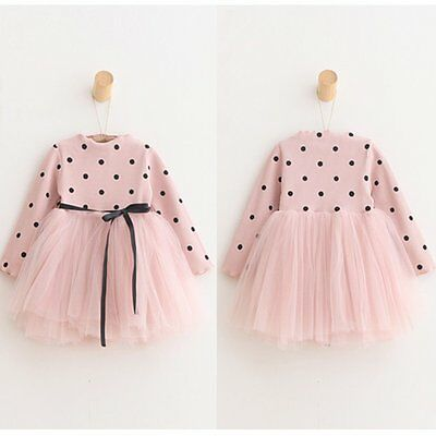 Toddler Baby Girls Long Sleeve Princess Dress Party Wedding Pageant Tutu Dresses