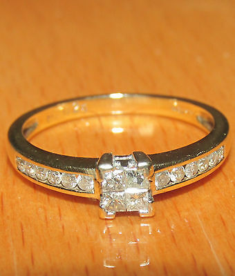 BEAUTIFUL SECONDHAND 9ct YELOW   GOLD 0.25ct  DIAMOND  SOLITAIRE RING SIZE L
