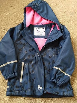 Lovely Girls Navy Blue Waterproof Jacket from LIDL Age 6 7 and 8 years