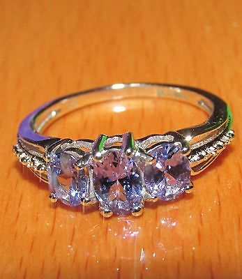 BEAUTIFUL SECONHAND 9ct WHITE GOLD TANZANITE 3 STONE  RING SIZE L
