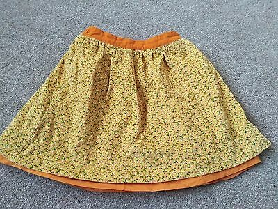 Lovely Little Bird Jules Oliver Yellow Orange Cord Floral Skirt Age 6-7 years
