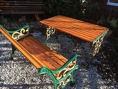 Lovely Old Heavy Cast Iron Patio Set / Garden Furniture Fully Restored
