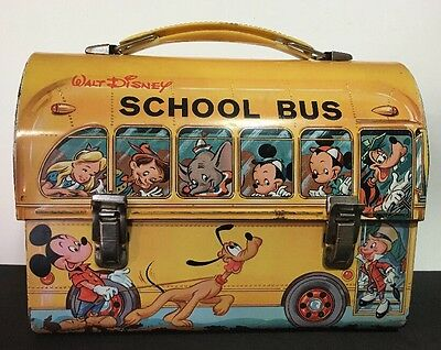 Antique Vintage 1960's Aladdin Walt Disney Metal Tin School Bus Dome Lunchbox