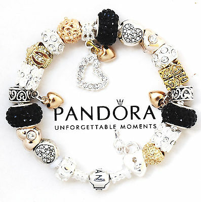 Authentic Pandora Charm Bracelet Silver with Black Gold Hearts European Charms