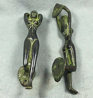 Antique Pair Brass Door Knocker SEXY GIRL NUDE Collectibles EROTIC Pulls Vintage