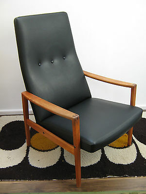 Vintage Danish Teak Chair, High back Lounge Armchair, Wanscher. Northants