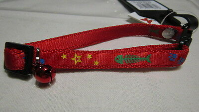 Collier Chat Fish Star Grelot Rouge
