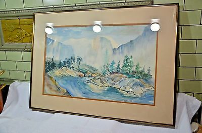 Vintage Landscape Yosemite Half Dome watercolor Painting- Signed  D. Deford