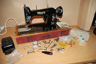 Stunning Vintage Pfaff 30 Semi Industrial Electric Sewing Machine in Case Extras
