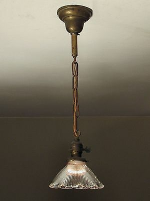 MATCHING PAIR! of Antique Pendant Light Fixtures with HOLOPHANE Shades c. 1910