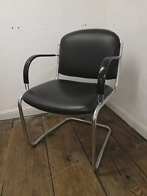 Retro Vintage Black chrome tubular office chair man cave games rook gaming chair