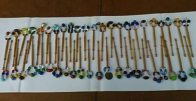 Wooden turned spangled lace bobbins x 45