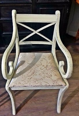 Sturdy up cycled carver chair painted in Autentico Antique White and distressed.