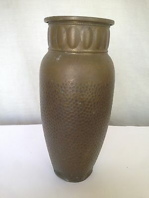 Late 19th Century, Bedouin Arab Vase, Jerusalem, Hand Hammered Brass Palestinian