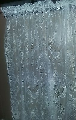 Floral Lace Curtains Cool White Floral Scrolls Shabby Cottage 60X84 Nos jcpenney