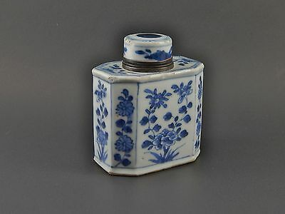 Antique Kangxi Chinese Export Blue & White Tea Caddy Silver Top Early 18th C