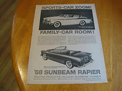 1958 Sunbeam Rapier Family car room  print magazine ad