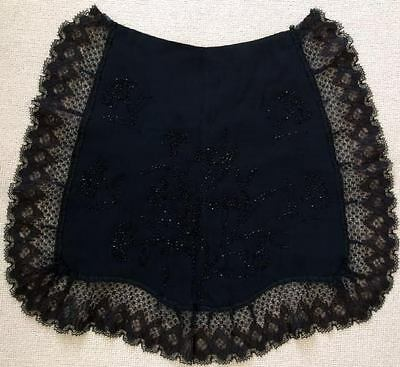 Victorian Black Salon or Bustle Apron with Jet Beads