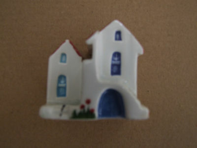 Ceramik vintage Greek hand made painted collectable miniature house