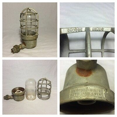 Vintage Industrial Crouse Hinds Explosion Proof Light Fixture Complete