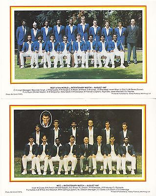 1987 cricket Bicentenary MCC v Rest of World Lords scorecard and team photograph