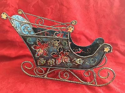 Santa Sleigh Large Metal Decor Flowers Blue Red Gold Christmas Holiday
