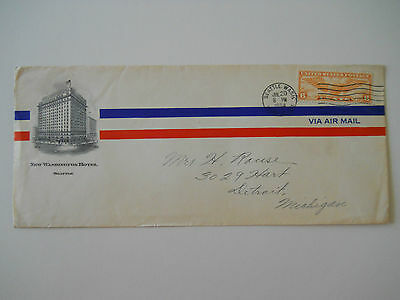 1934 New Washington Hotel Advertising Hotel Envelope Air Mail Cover