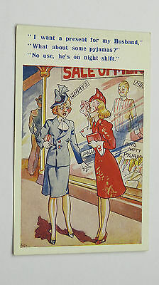 1940s Vintage Comic Postcard Gents Outfitters Wartime Fashion Hats NIght Shift