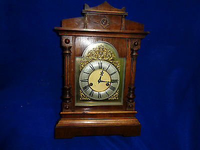 Fine Antique Original Hac Half Strike 14 Day Oak Bracket Clock C1900 Wurttemberg