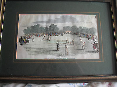 Castle Howard,Visit of Royal Party to Cricket Ground 1850's Lithograph Coloured