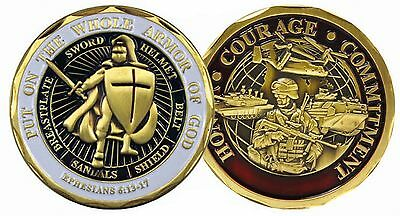 Put on the Whole Armor of God Ephesians Honor Courage Commitment Challenge Coin