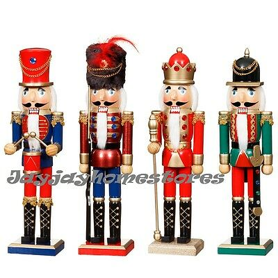 38cm Wooden Nutcracker Soldier Standing Christmas Decoration festive mantelpiece