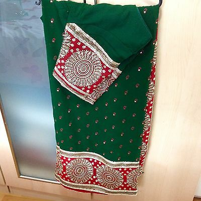 Dark Green Indian Pakistani bollywood Designer Saree, Anarkali, Shalwar
