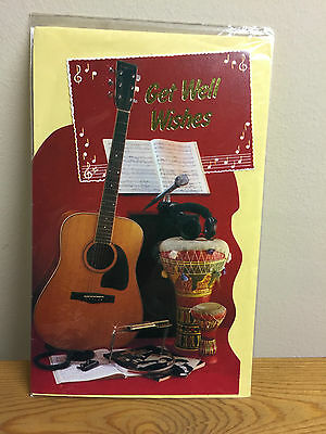 Vintage Get Well Wishes Musical Instrument Card