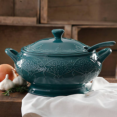 The Pioneer Woman Tableware Serving Dish Farmhouse Lace Tureen Lid Ladle Teal