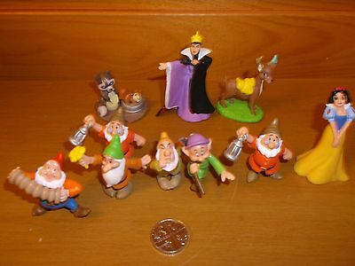 SNOW WHITE AND THE SEVEN (actually 5) DWARVES MINI FIGURES & OTHER DISNEY FIGURE