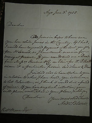 1788 LETTER BLANE to MOORE about LEASE OF BLAIRSTONE BLAIRQUHAN AYR SCOTLAND
