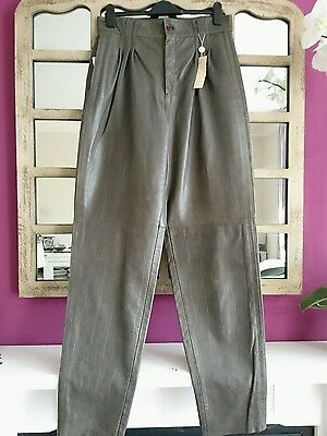 Gianni Versace  Trousers Size It 50 Amazing Quality Leather High Waist.