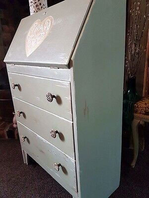 Shabby Chic Writing Bureau Painted In Tea Green Chalk Paint