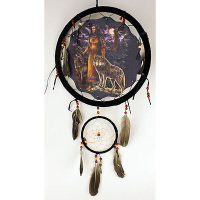 """Large 13"""" Dream Catcher Design Native American-Style Real Feathers Wall Hanging"""