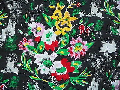 Unused vintage/retro 60's bold abstract floral interiors fabric - 1M lengths