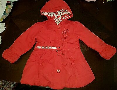 Girls 3-4 years smart red christmas coat / jacket winter clothes next day