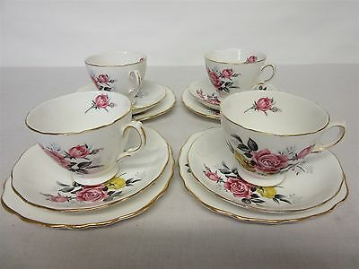 Vintage Royal Vale 4 x cup, saucer and side plate set, floral pattern no. 7515