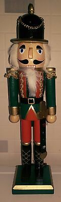 Handpainted Christmas Nutcracker Large Soldier  38Cms Bnwt Green Tunic On Stand