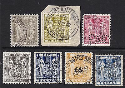 Arms Kgvi Revenue High Value Stamps Used