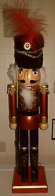 Handpainted Christmas Nutcracker Large Soldier  38Cms Bnwt Burgundy On Stand