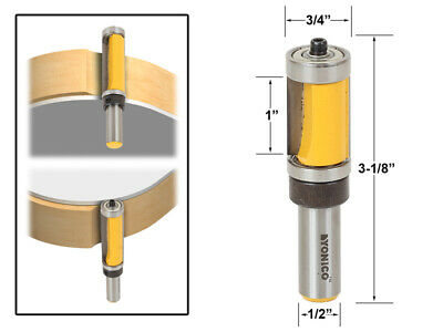 "1"" Flush Trim Top and Bottom Bearing Router Bit - 1/2"" Shank - Yonico 14141"