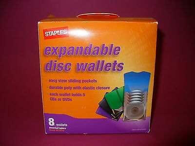 Box of Eight (8) Staples Expandable Disk Wallets NEW Storage for 40 CDs or DVDs