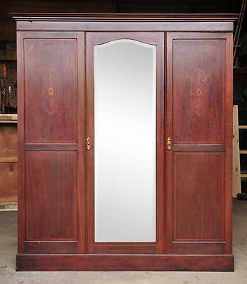 Beautiful Vintage Victorian Triple Inlaid Mahogany Wardrobe